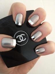 Chrome nails & Chanel