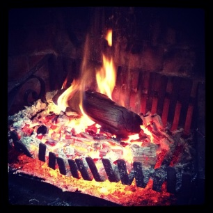 Cosy fire on a rainy day