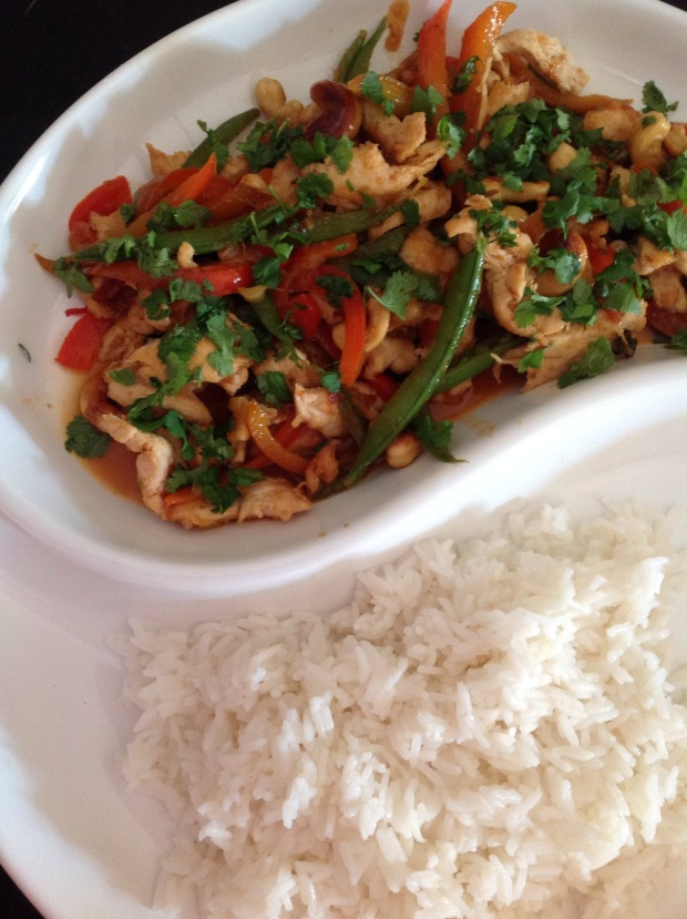 chicken and sweet chilli jam stir fry