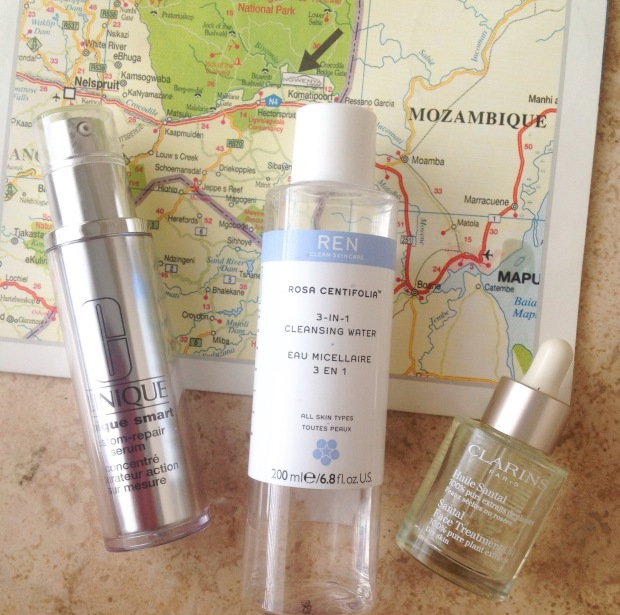 These were also very useful travel companions. Clinique Smart Serum, REN cleansing water and Clarins face treatment oil
