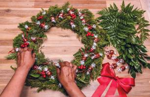 6. Place the Lindor truffles around the wreath and wire or glue gun in place. Add bow and secure with wire or glue gun.